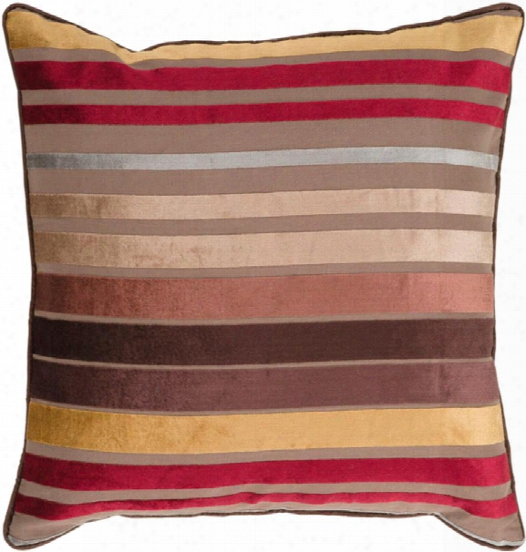 """Velvet Stripe 18"""" X 18"""" Viscose Cushion In Camel And Tan Hue By Surya"""