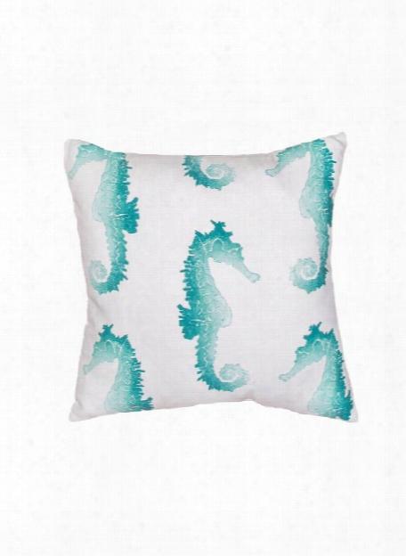 Veranda Pillow In Bright White & Porcelain Green Design By Jaipur