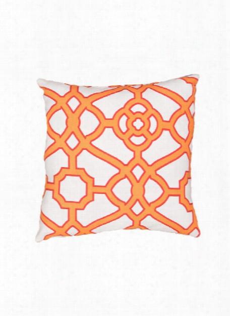 Veranda Pillow In Snow White & Blazing Orange Design By Jaipur