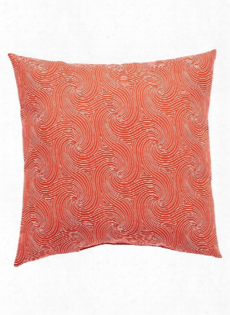 Veranda Pillow In Tomato & Snow White Design By Jaipur