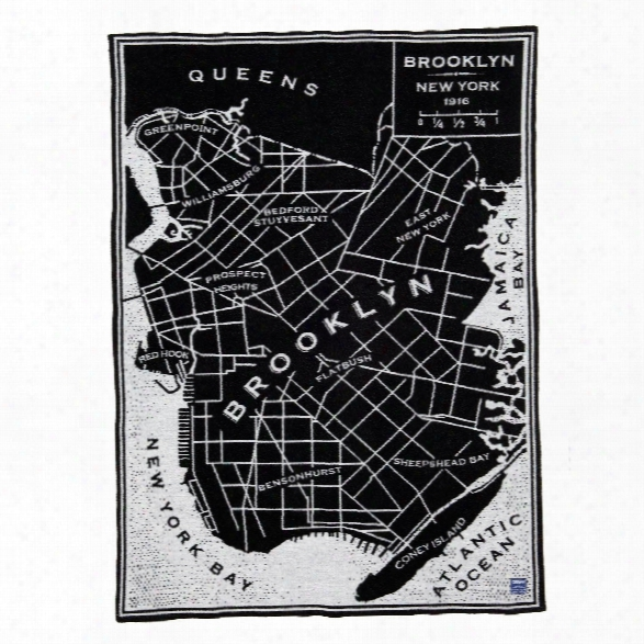Vintage City Map Brooklyn Wool Throw Design By Faribault