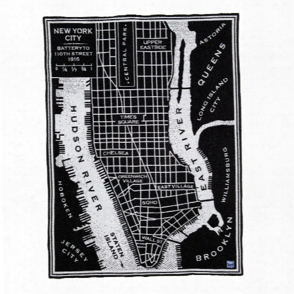 Vintage City Map New York Wool Throw Design By Faribault