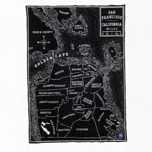 Vintage City Map San Francisco Wool Throw Design By Faribault