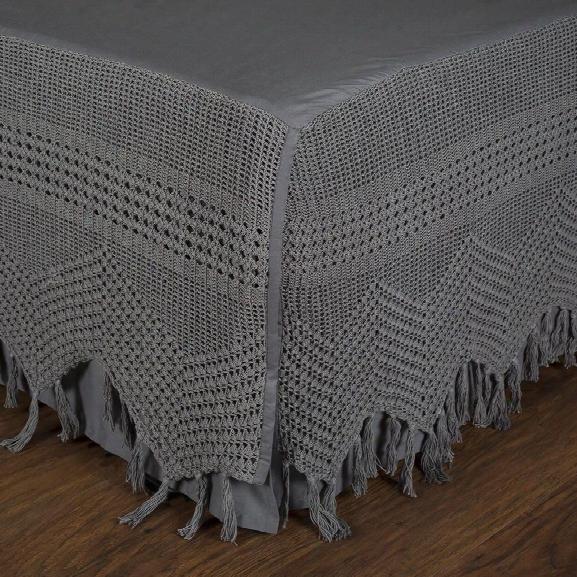 Vintage Crochet Bedskirt In Midnight Design By Pom Pom At Home