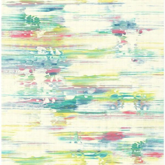 Watercolor Brushstrokes Wallpaper In Green, Pink, And Yellow From The L'atelier De Paris Collection By Seabrook