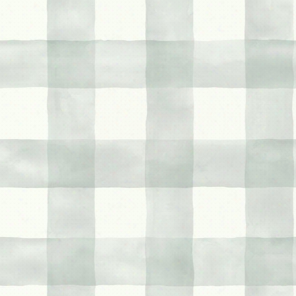 Watercolor Check Wallpaper In Soft Mint From The Magnolia Home Collection By Joanna Gaines