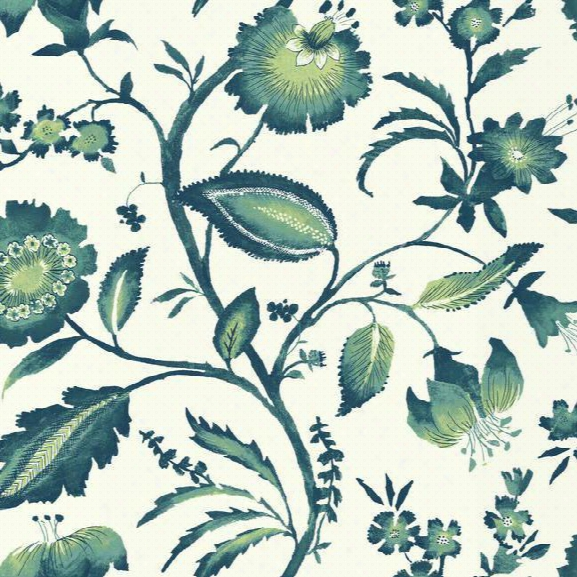 Watercolor Jacobean Wallpaper In Blue Aand Green Design By York Wallcoverings