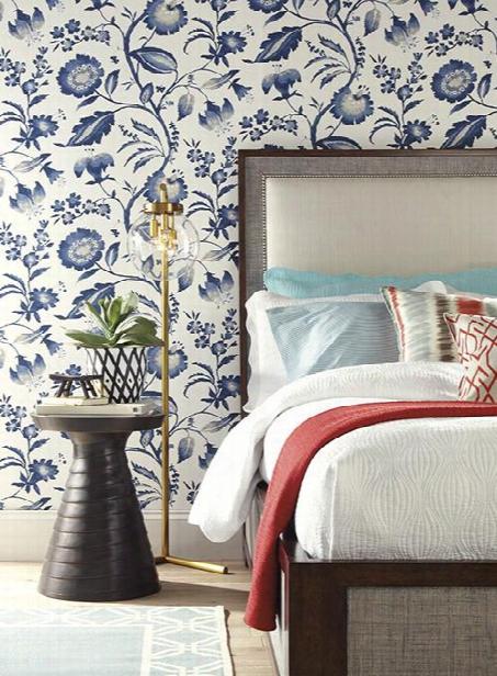 Watercolor Jacobean Wallpaper In Blue Design By York Wallcoverings