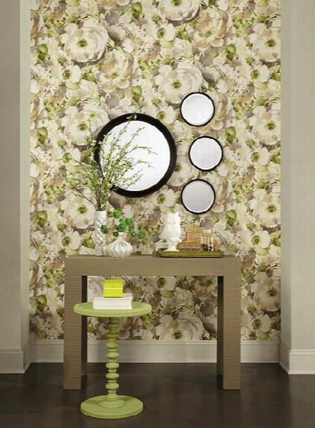 Watercolor Poppy Wallpaper In Grey And Green Design By Carey Lind For York Wallcoverings