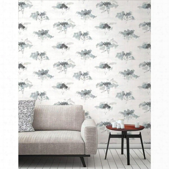 Watercolor Trees Wallpaper In Greys And Ivory From The L'atelier De Paris Collection By Seabrook