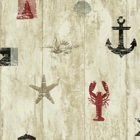 Weathered Seashore Wallpaper In Tan, Red, And Navy Design By York Wallcoverings