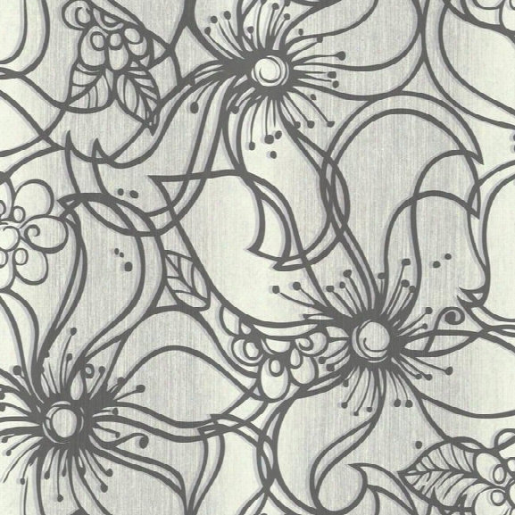 Whimsical Bloom Wallpaper In Charcoal Design By Stacy Garcia For York Wallcoverings
