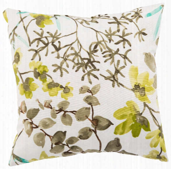 White & Brown Floral Gazebo Indoor/ Outdoor Throw Pillow Design By Jaipur