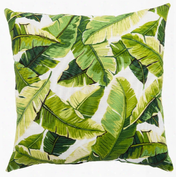 White & Green Floral Balmoral Indoor/ Outdoor Throw Pillow Design By Jaipur