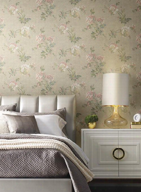 Whitworth Peony Cork Print Wallpaper In Pink And Beige By Ronald Redding For York Wallcoverings