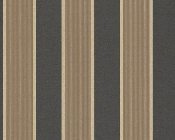 Wide Stripes Wallpaper In Brown Design By Bd Wall