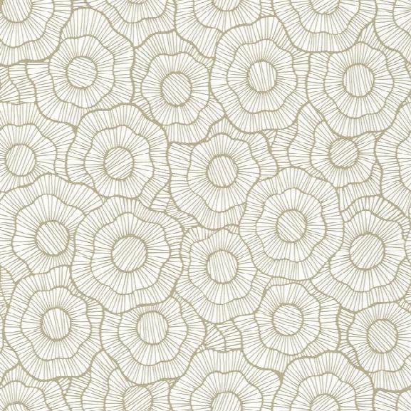 Wild Poppies Flocked Wallpaper In Brown Design By Stacy Garcia For York Wallcoverings