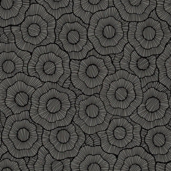 Wild Poppies Flocked Wallpaper In Dark Grey And Black Design By Stacy Garcia For York Wallcoverings