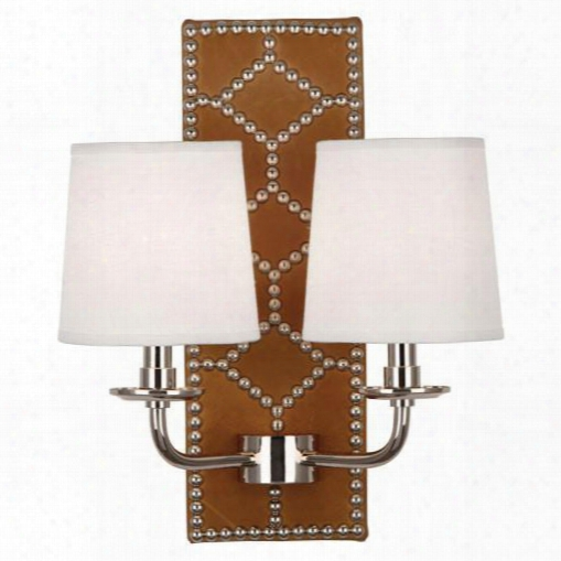 Williamsburg Lightfoot English Ochre Leather Wall Sconce Design By Jonathan Adler