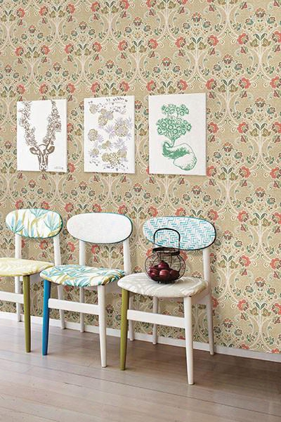 Willow Coral Nouveau Floral Wallpaper From The Kismet Collection By Brrewster Home Fashions