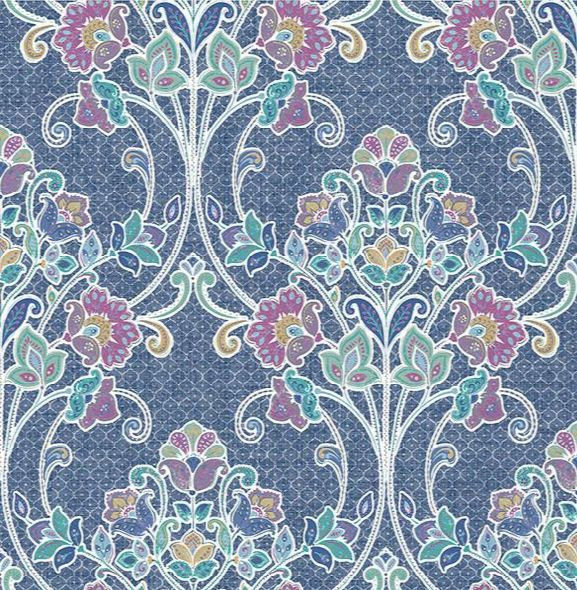 Willow Indigo Nouveau Floral Wallpaper From The Kismet Collection By Brewster Home Fashions