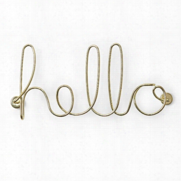 Wired Hello Wall Decor In Brass Design By Umbra