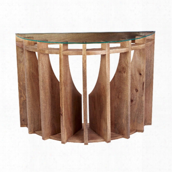 Wooden Sundial Console Table Design By Lazy Susan