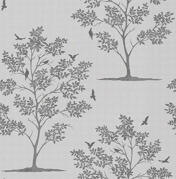 Woodland Grey Trees & Birds Wallpaper From The Essentials Collection By Brewster Home Fashions