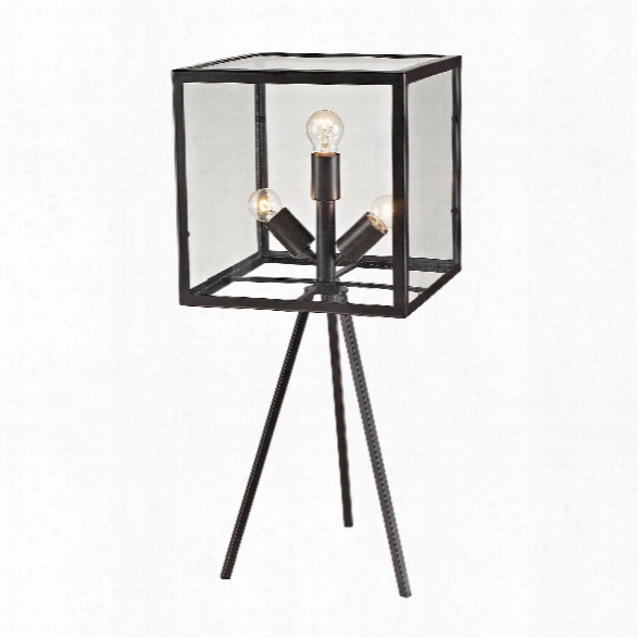 Workshop Glass Cube Table Lamp In Aged Bronze Design By Lazy Susan