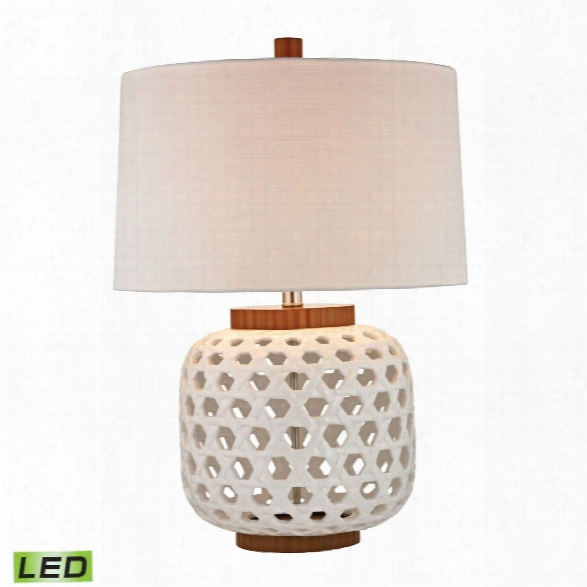 Woven Ceramic Lde Table Lamp In White And Wood Tone Design By Lazy Susan
