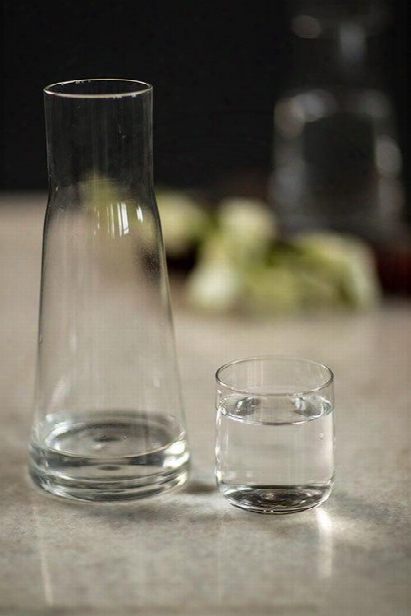 "Borasilicate Glass Carafe And Glass ""eau De Nuit"" Night Water Carafe By Vagabond Vintage"