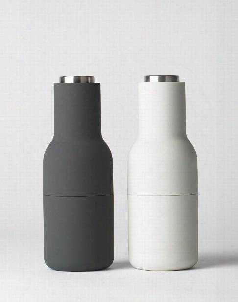 Bottle Grinder 2 Pack In Ash & Carbon W/ Stainless Steel Top Design By Menu