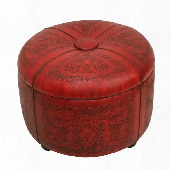 Bouquet Storage Ottoman In Red