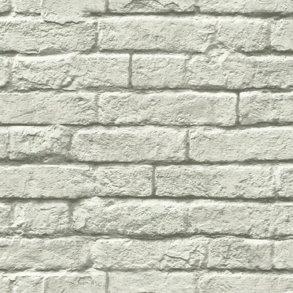 Brick-and-mortar Wallpaper In Grey From The Magnolia Home Collection By Joanna Gaines