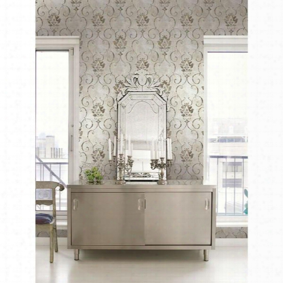 Brilliant Wallpaper In Neutrals And Metallic By Seabrook Wallcoverings
