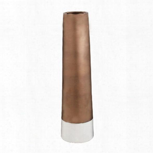 Bronze Top Dip Two-tone Ceramic Tubular Vase Design By Lazy Susan