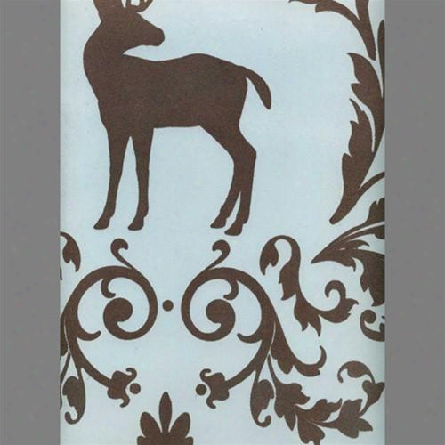 Brown & Light Blue Deer Bird Damsak Velvet Flocked Wallpaper Design By Burke Decor
