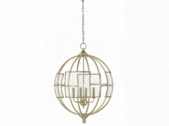 Broxton Orb Chandelier In Silver Leaf Design By Currey & Company