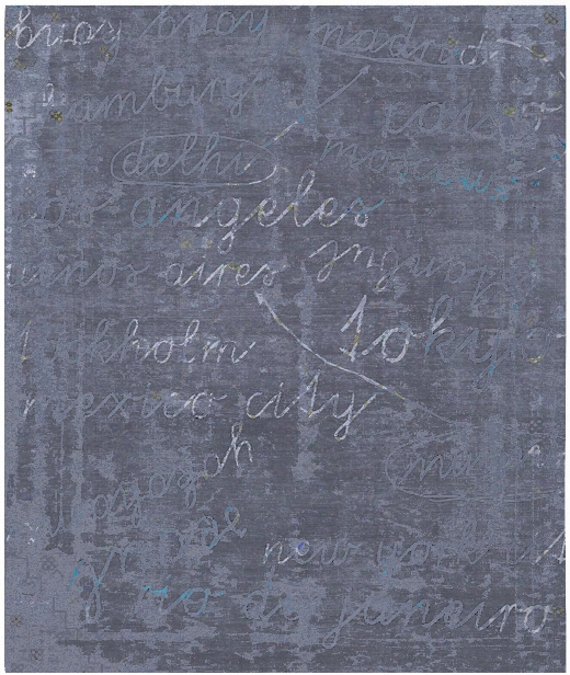 Buenos Aires / Tokyo Hand Knotted Rug In Blue Design By Second Studio