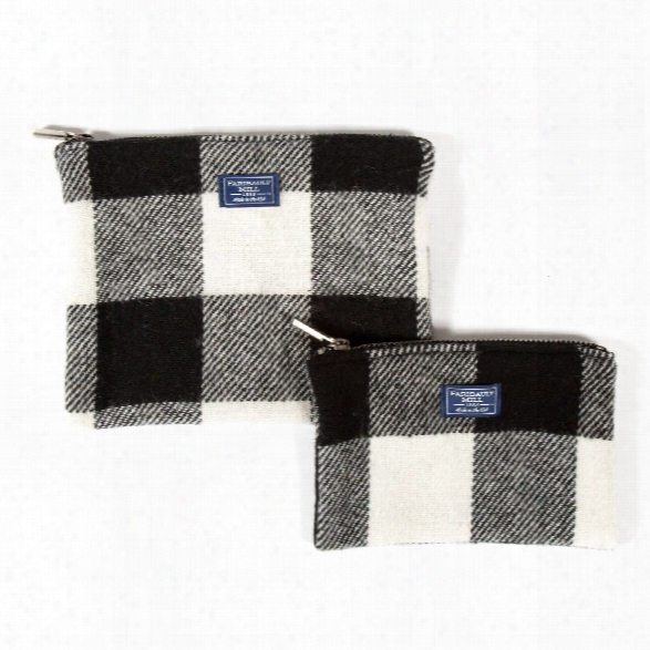 Buffalo Check Wool Pouch In White & Black Design By Faribault