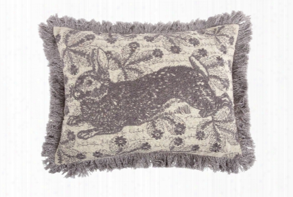 Bunny Embroidered Pillow In Thistle Design By Thomas Paul