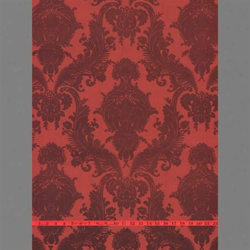 Burgundy & Red Heirloom Velvet Flocked Wallpaper Design By Burke Decor