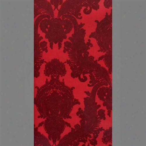 Burgundy & Red Petite Heirloom Velvet Flocked Wallpaper Design By Burle Decor