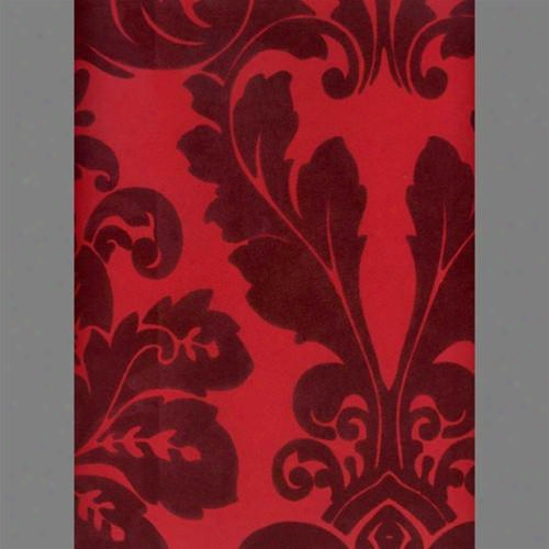Burgundy And Red Bulb Damask Velvet Flocked Wallpaper Design By Burke Decor