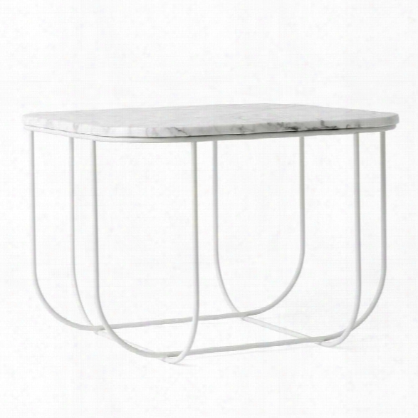 Cage Side Table In White & White Marble Design By Menu