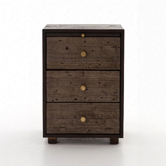 Calais 3 Drawer Nightstand In Rustic Sundried Ash
