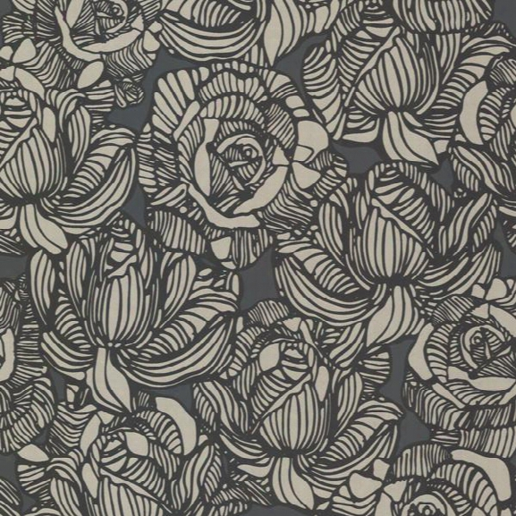 Calista Black Modern Rose Wallpaper Design By Brewster Home Fashions