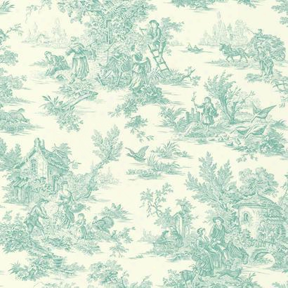 Campagne Toile Wallpaper In Aqua By Ashford House For York Wallcoverings