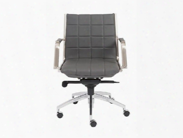 Zander Low Back Office Chair In Grey Leatherette Design By Euro Style
