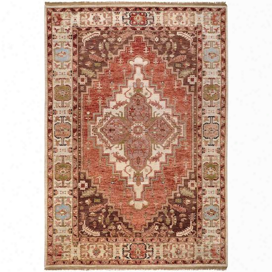 Zeus Collection 100% Wool Area Rug In Terra Cotta, Cinnamon Spice, And Tea Leaves Design By Surya
